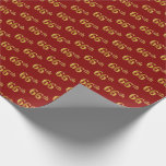[ Thumbnail: Red, Faux Gold 66th (Sixty-Sixth) Event Wrapping Paper ]