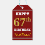 [ Thumbnail: Red, Faux Gold 67th Birthday + Custom Name Gift Tags ]