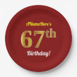 [ Thumbnail: Red, Faux Gold 67th Birthday + Custom Name Paper Plate ]