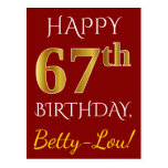 [ Thumbnail: Red, Faux Gold 67th Birthday + Custom Name Postcard ]