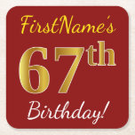 [ Thumbnail: Red, Faux Gold 67th Birthday + Custom Name Paper Coaster ]