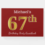 [ Thumbnail: Red, Faux Gold 67th Birthday Party + Custom Name Guest Book ]