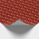 [ Thumbnail: Red, Faux Gold 67th (Sixty-Seventh) Event Wrapping Paper ]