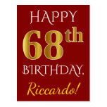 [ Thumbnail: Red, Faux Gold 68th Birthday + Custom Name Postcard ]