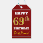 [ Thumbnail: Red, Faux Gold 69th Birthday + Custom Name Gift Tags ]