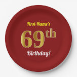 [ Thumbnail: Red, Faux Gold 69th Birthday + Custom Name Paper Plate ]
