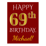 [ Thumbnail: Red, Faux Gold 69th Birthday + Custom Name Postcard ]