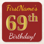 [ Thumbnail: Red, Faux Gold 69th Birthday + Custom Name Paper Coaster ]