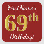 [ Thumbnail: Red, Faux Gold 69th Birthday + Custom Name Sticker ]