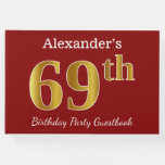 [ Thumbnail: Red, Faux Gold 69th Birthday Party + Custom Name Guest Book ]