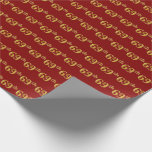 [ Thumbnail: Red, Faux Gold 69th (Sixty-Ninth) Event Wrapping Paper ]