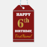 [ Thumbnail: Red, Faux Gold 6th Birthday + Custom Name Gift Tags ]