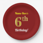 [ Thumbnail: Red, Faux Gold 6th Birthday + Custom Name Paper Plate ]