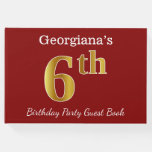 [ Thumbnail: Red, Faux Gold 6th Birthday Party + Custom Name Guest Book ]