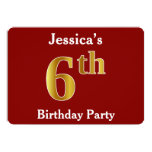 [ Thumbnail: Red, Faux Gold 6th Birthday Party + Custom Name Invitation ]