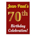 [ Thumbnail: Red, Faux Gold 70th Birthday Celebration + Name Invitation ]