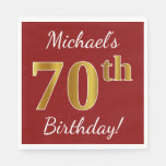 [ Thumbnail: Red, Faux Gold 70th Birthday + Custom Name Paper Napkin ]