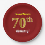 [ Thumbnail: Red, Faux Gold 70th Birthday + Custom Name Paper Plate ]