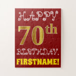[ Thumbnail: Red, Faux Gold 70th Birthday + Custom Name Puzzle ]