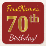 [ Thumbnail: Red, Faux Gold 70th Birthday + Custom Name Paper Coaster ]
