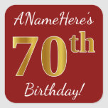 [ Thumbnail: Red, Faux Gold 70th Birthday + Custom Name Sticker ]