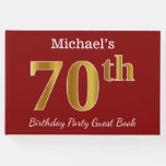[ Thumbnail: Red, Faux Gold 70th Birthday Party + Custom Name Guest Book ]