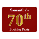[ Thumbnail: Red, Faux Gold 70th Birthday Party + Custom Name Invitation ]