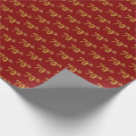 [ Thumbnail: Red, Faux Gold 70th (Seventieth) Event Wrapping Paper ]