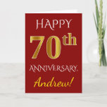 [ Thumbnail: Red, Faux Gold 70th Wedding Anniversary + Name Card ]