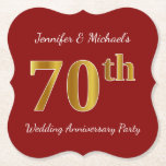 [ Thumbnail: Red, Faux Gold 70th Wedding Anniversary Party Paper Coaster ]