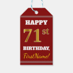 [ Thumbnail: Red, Faux Gold 71st Birthday + Custom Name Gift Tags ]