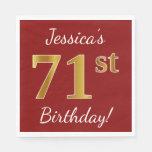 [ Thumbnail: Red, Faux Gold 71st Birthday + Custom Name Napkin ]