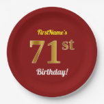 [ Thumbnail: Red, Faux Gold 71st Birthday + Custom Name Paper Plate ]