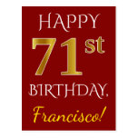 [ Thumbnail: Red, Faux Gold 71st Birthday + Custom Name Postcard ]