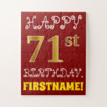 [ Thumbnail: Red, Faux Gold 71st Birthday + Custom Name Puzzle ]