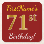 [ Thumbnail: Red, Faux Gold 71st Birthday + Custom Name Paper Coaster ]
