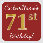 [ Thumbnail: Red, Faux Gold 71st Birthday + Custom Name Sticker ]