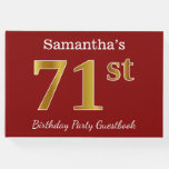 [ Thumbnail: Red, Faux Gold 71st Birthday Party + Custom Name Guest Book ]