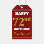 [ Thumbnail: Red, Faux Gold 72nd Birthday + Custom Name Gift Tags ]