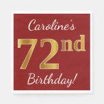 [ Thumbnail: Red, Faux Gold 72nd Birthday + Custom Name Napkin ]
