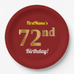 [ Thumbnail: Red, Faux Gold 72nd Birthday + Custom Name Paper Plate ]