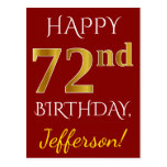 [ Thumbnail: Red, Faux Gold 72nd Birthday + Custom Name Postcard ]