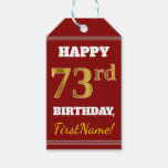 [ Thumbnail: Red, Faux Gold 73rd Birthday + Custom Name Gift Tags ]