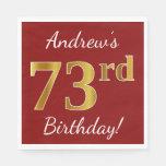 [ Thumbnail: Red, Faux Gold 73rd Birthday + Custom Name Paper Napkin ]