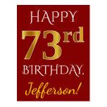 [ Thumbnail: Red, Faux Gold 73rd Birthday + Custom Name Postcard ]