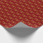 [ Thumbnail: Red, Faux Gold 73rd (Seventy-Third) Event Wrapping Paper ]