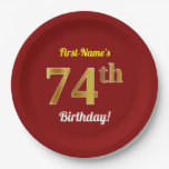 [ Thumbnail: Red, Faux Gold 74th Birthday + Custom Name Paper Plate ]