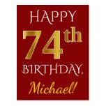 [ Thumbnail: Red, Faux Gold 74th Birthday + Custom Name Postcard ]