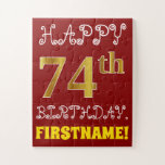 [ Thumbnail: Red, Faux Gold 74th Birthday + Custom Name Puzzle ]