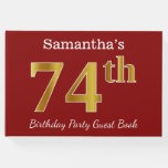 [ Thumbnail: Red, Faux Gold 74th Birthday Party + Custom Name Guest Book ]